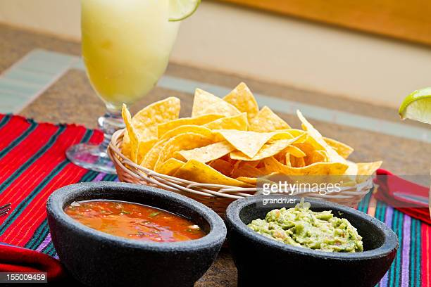 Chips, Salsa and Guacamole with Margarita