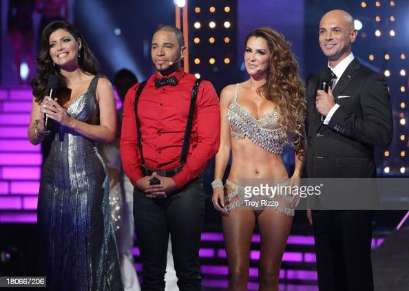 Chiquinquira Delgado Henry Santos Ninel Conde and Javier Poza participate in premiere of Univision's 'Mira Quien Baila'show on September 14 2013 in...