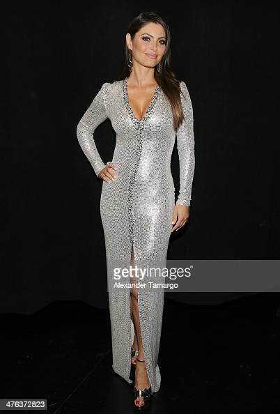 Chiquinquira Delgado is seen attending the premiere show of Univision's Nuestra Belleza Latina at Univision Headquarters on March 2 2014 in Miami...