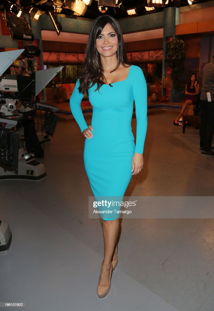 Chiquinquira Delgado is seen on the set of Despierta America for simulcast with 'Good Morning America' and Fusion's the Morning Show' at Univision...