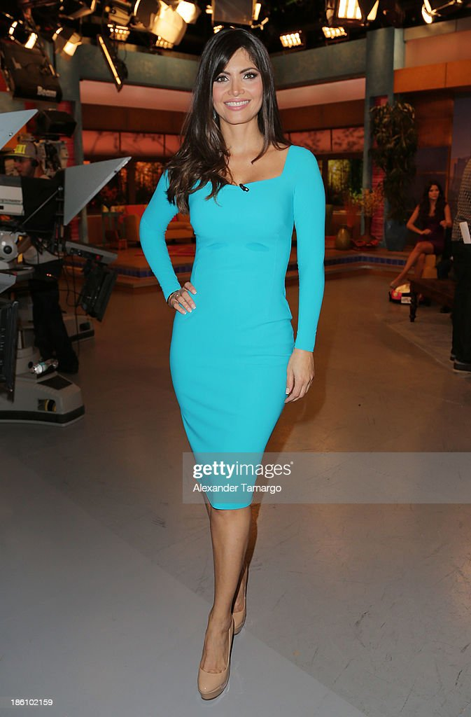 Chiquinquira Delgado is seen on the set of Despierta America for simulcast with 'Good Morning America' and Fusion's the Morning Show' at Univision Headquarters on October 28, 2013 in Miami, Florida.