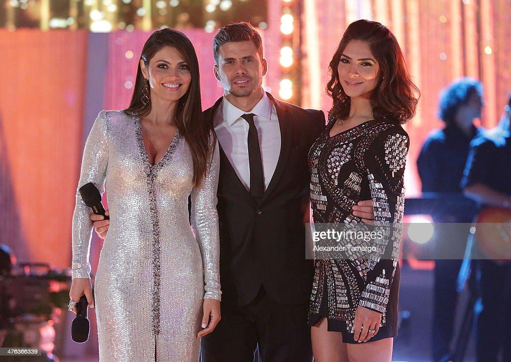 Chiquinquira Delgado Pedro Moreno and Alejandra Espinoza are seen attending the premiere show of Univision's Nuestra Belleza Latina at Univision...