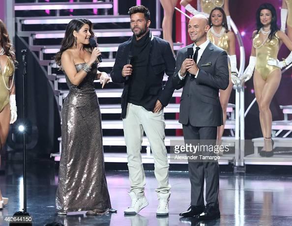 Chiquinquira Delgado Ricky Martin and Javier Poza are seen on Nuestra Belleza Latina at Univision Studios on February 1 2015 in Miami Florida