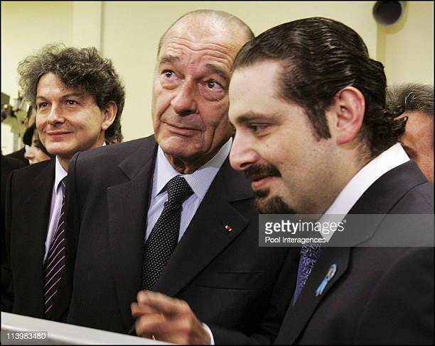 Chirac Hariri Murderers Will Not Escape Justice In Paris France On February 04 2006 French President Jacques Chirac center gestures as he speaks with...