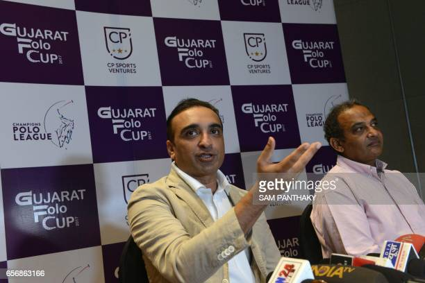 Chirag Parekh founder of the Champions Polo League addresses a press conference on the Gujarat Polo Cup as Vikram Rathore ambassador of the...