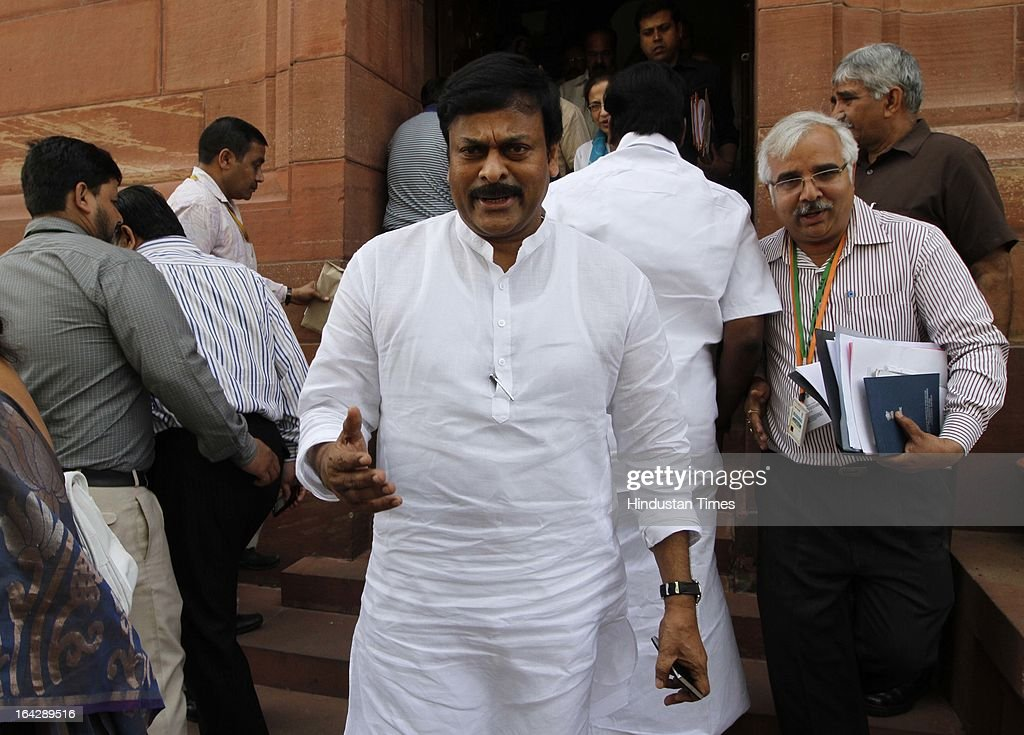 Chiranjeevi Union minister of state for Tourism at Parliament house for ongoing Budget Session on March 22, 2013 in New Delhi, India. The Lok Sabha failed to transact any business for the third consecutive day as proceedings remained paralysed over the Sri Lankan Tamils issue.