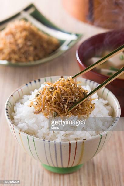 Chirimen Sansho on Steamed Rice