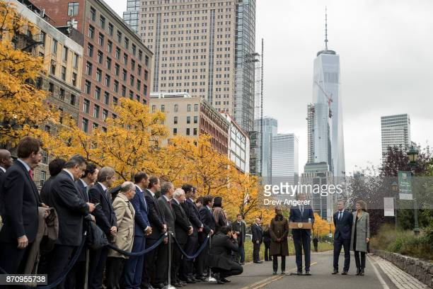 Chirlane McCray New York City Mayor Bill de Blasio Argentinian President Mauricio Macri and First Lady of Argentina Juliana Awada attend a tribute...