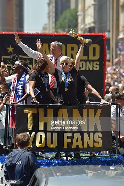 Chirlane McCray Soccer players Carli Lloyd and Megan Rapinoe Mayor Bill de Blasio and US Coach Jill Ellis aboard a float in the New York City Ticker...
