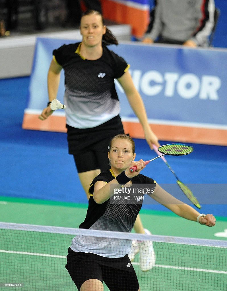 Chirstinna Pedersen (R) and Kamilla Rytter Juhi of Denmark play a shot during their women's doubles badminton match against Ma Jin and Tang Jinhua of China during the semi-finals of the Korea Open at Seoul on January 12, 2013. Ma Jin and Tang Jinhua won the match 21-19, 19-21, 21-11.