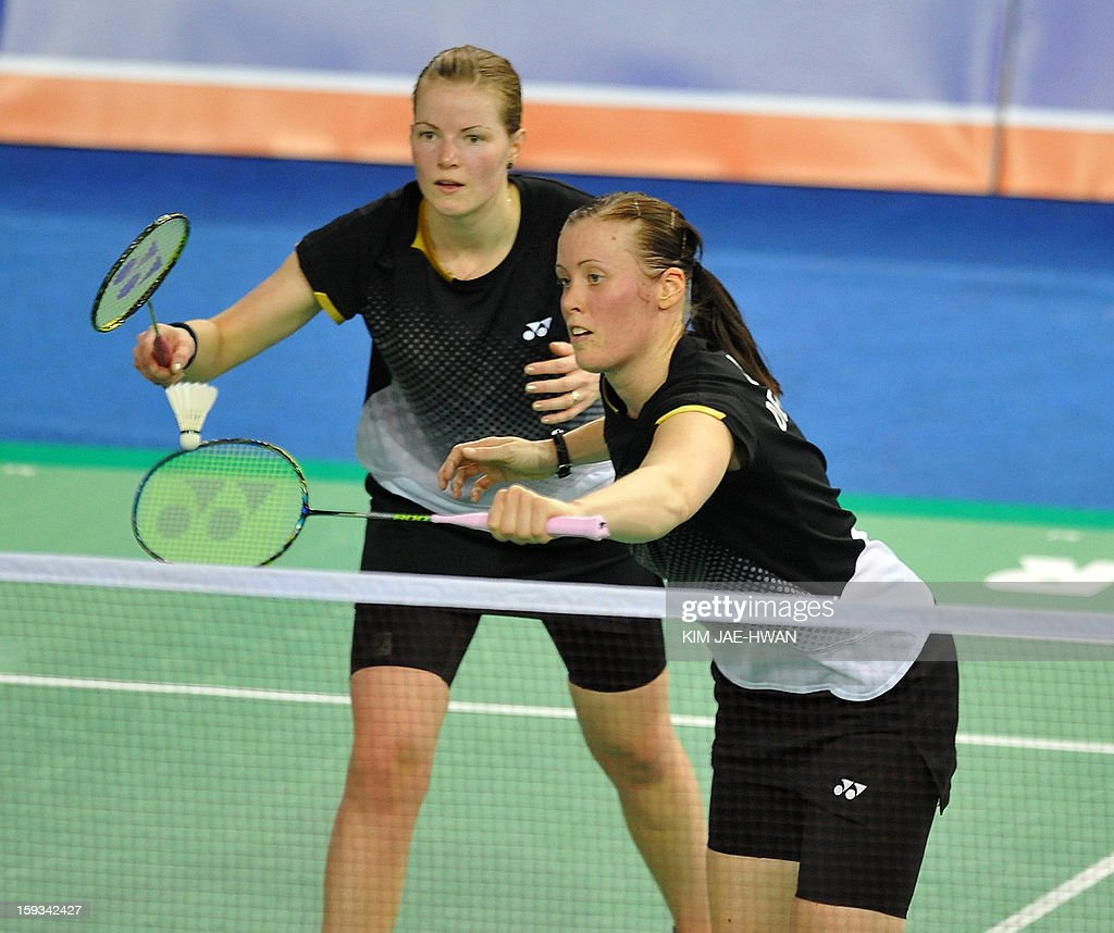 Chirstinna Pedersen (L) and Kamilla Rytter Juhi of Denmark play a shot during their women's doubles badminton match against Ma Jin and Tang Jinhua of China during the semi-finals of the Korea Open at Seoul on January 12, 2013. Ma Jin and Tang Jinhua won the match 21-19, 19-21, 21-11.