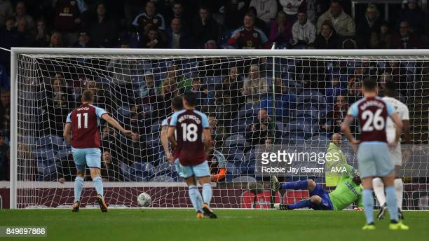Chis Wood of Burnley scores a goal to make it 11 during the Carabao Cup Third Round match between Burnley and Leeds United at Turf Moor on September...