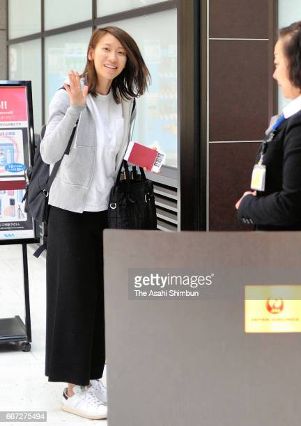 Chisato Fukushima is seen on departure for the United States at Narita International Airport on March 28 2017 in Narita Chiba Japan