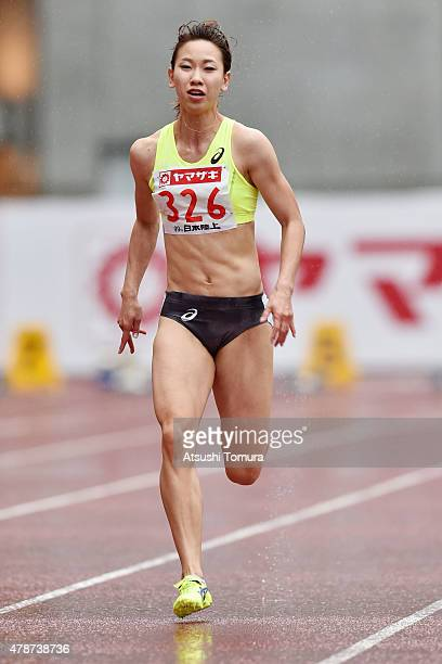 Chisato Fukushima of Japan competes in the womens 100 meter preliminary heat during the 99th Japan Athletics National Championships at Denka Big Swan...
