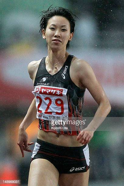 Chisato Fukushima of Japan competes in the Women's 100m heat during day one of the 96th Japan National Championships at Nagai Stadium on June 8 2012...