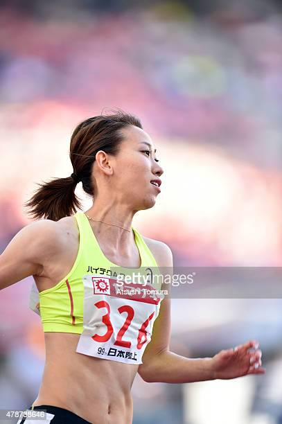 Chisato Fukushima of Japan competes in the womens 200 meter final during the 99th Japan Athletics National Championships at Denka Big Swan Stadium on...