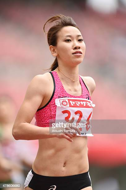 Chisato Fukushima of Japan competes in the Women's 200 metres qualification during the 99th Japan Athletics National Championships at Denka Big Swan...