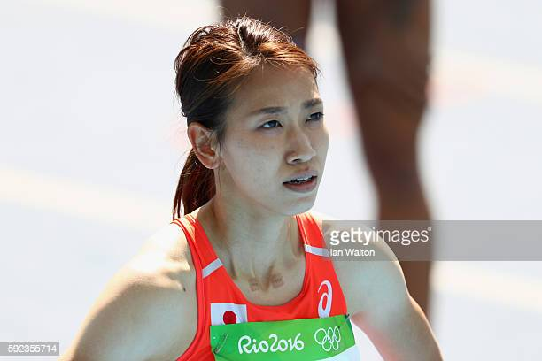 Chisato Fukushima of Japan reacts after competing in the round one of the Women's 200m on Day 10 of the Rio 2016 Olympic Games at the Olympic Stadium...