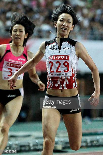 Chisato Fukushima of Japan reacts after winning the Women's 100m final during day two of the 96th Japan National Championships at Nagai Stadium on...