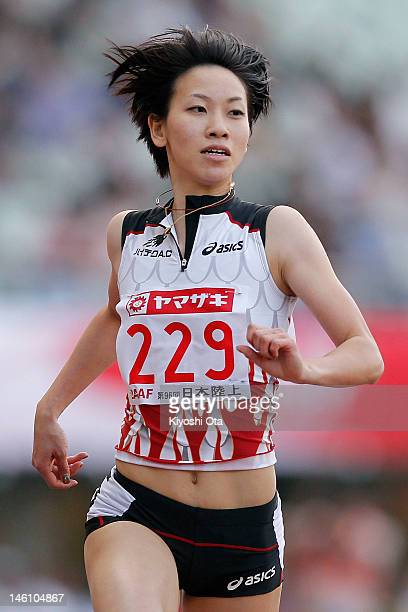 Chisato Fukushima of Japan reacts as she wins the Women's 200m final during day three of the 96th Japan National Championships at Nagai Stadium on...
