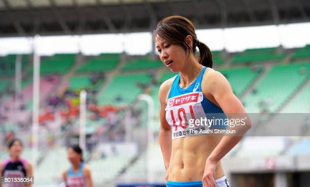 Chisato Fukushima shows dejection after finishing fifth in the Women's 200m during day three of the 101st JAAF Athletics Championships at Yanmar...