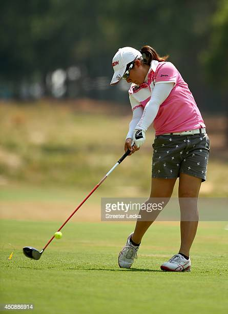Chisato Hasimoto of Japan hits a tee shot on the second hole during the first round of the 69th US Women's Open at Pinehurst Resort Country Club...