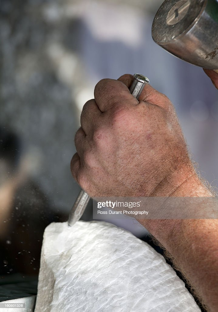 Chiseling marble