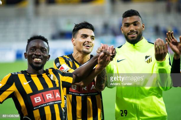Chisom Egbuchulam of BK Hacken Ahmad Yasin of BK Hacken and Jonathan Rasheed goalkeeper of BK Hacken cheers to the fans after their team´s victory in...