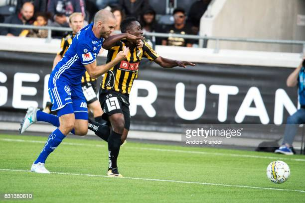 Chisom Egbuchulam of BK Hacken is tackled by Marcus Danielsson of GIF Sundsvall during the Allsvenskan match between BK Hacken and GIF Sundsvall at...