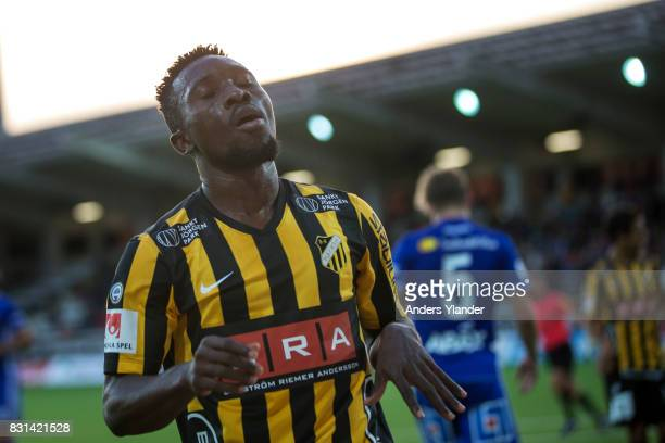Chisom Egbuchulam of BK Hacken looks dejected during the Allsvenskan match between BK Hacken and GIF Sundsvall at Bravida Arena on August 14 2017 in...