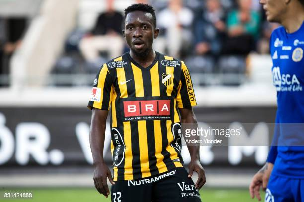 Chisom Egbuchulam of BK Hacken looks on during the Allsvenskan match between BK Hacken and GIF Sundsvall at Bravida Arena on August 14 2017 in...