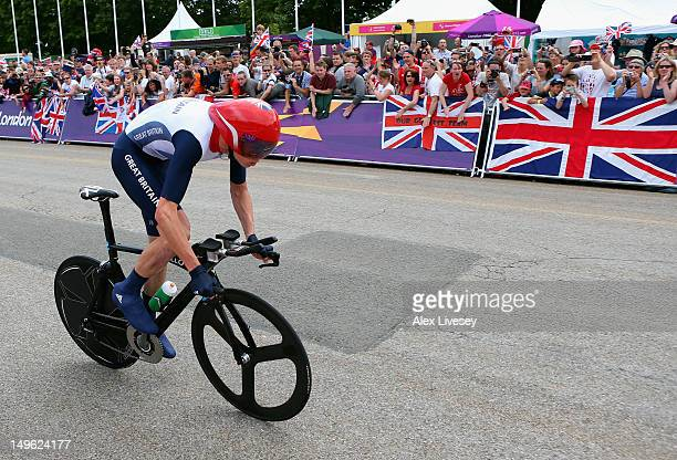 Chistopher Froome of Great Britain in action during the Men's Individual Time Trial Road Cycling on day 5 of the London 2012 Olympic Games on August...