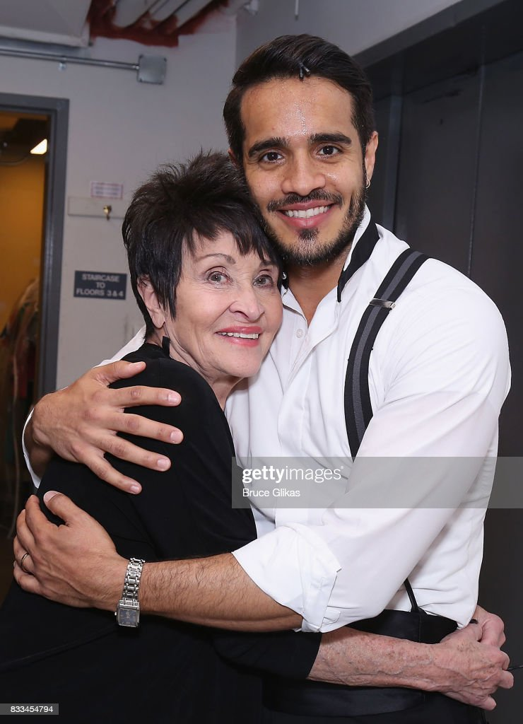 Chita Rivera and Ektor Rivera as 'Emilio Estefan' pose backstage at the hit musical 'On Your Feet: The Gloria Estefan/Emilio Estefan Musical' on Broadway at The Marquis Theatre on August 16, 2017 in New York City.