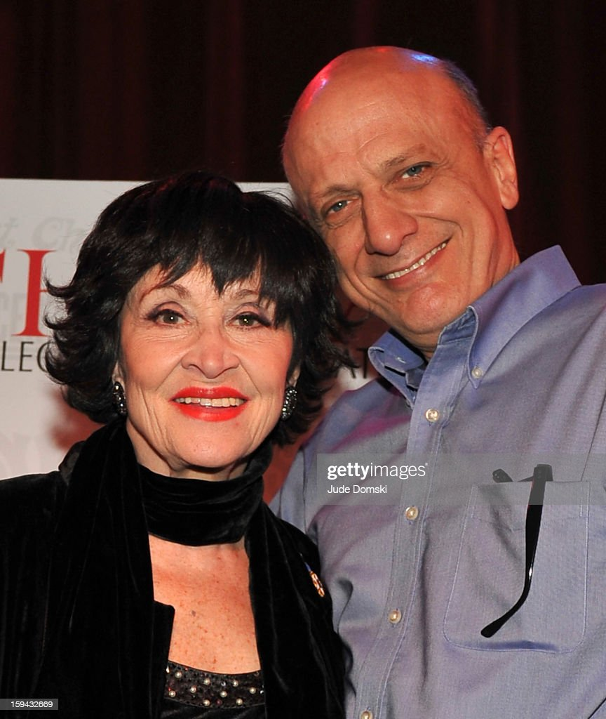 Chita Rivera and Tom Viola, the Executive Director of Broadway Cares/ Equity Fights AIDS, at a Press Conference at Birdland Jazz Club on January 13, 2013 in New York City where it was annouced that Rivera will perform a one-night concert to benefit Broadway Cares/ Equity Fights AIDS.