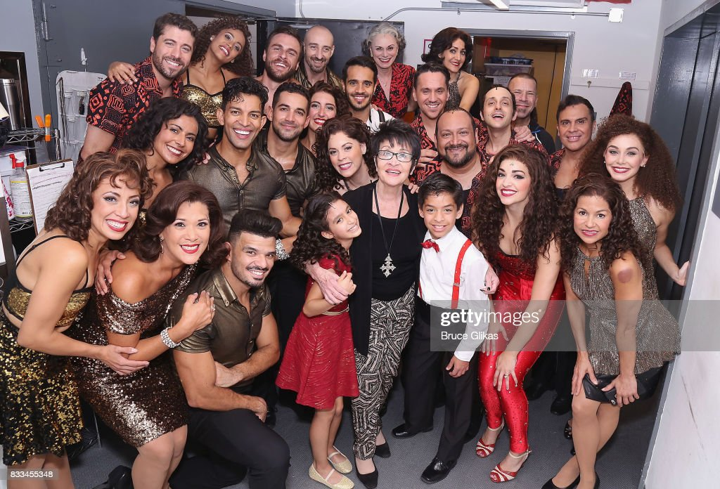 Chita Rivera poses with the cast backstage at the hit musical 'On Your Feet: The Gloria Estefan/Emilio Estefan Musical' on Broadway at The Marquis Theatre on August 16, 2017 in New York City.