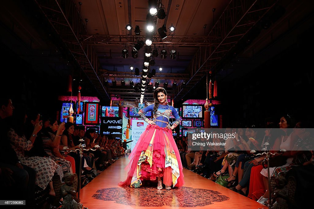 Chitrangada Singh walks the runway during the Tarun Tahiliani show on day 5 of Lakme Fashion Week Summer/Resort 2015 at Palladium Hotel on March 22, 2015 in Mumbai, India.