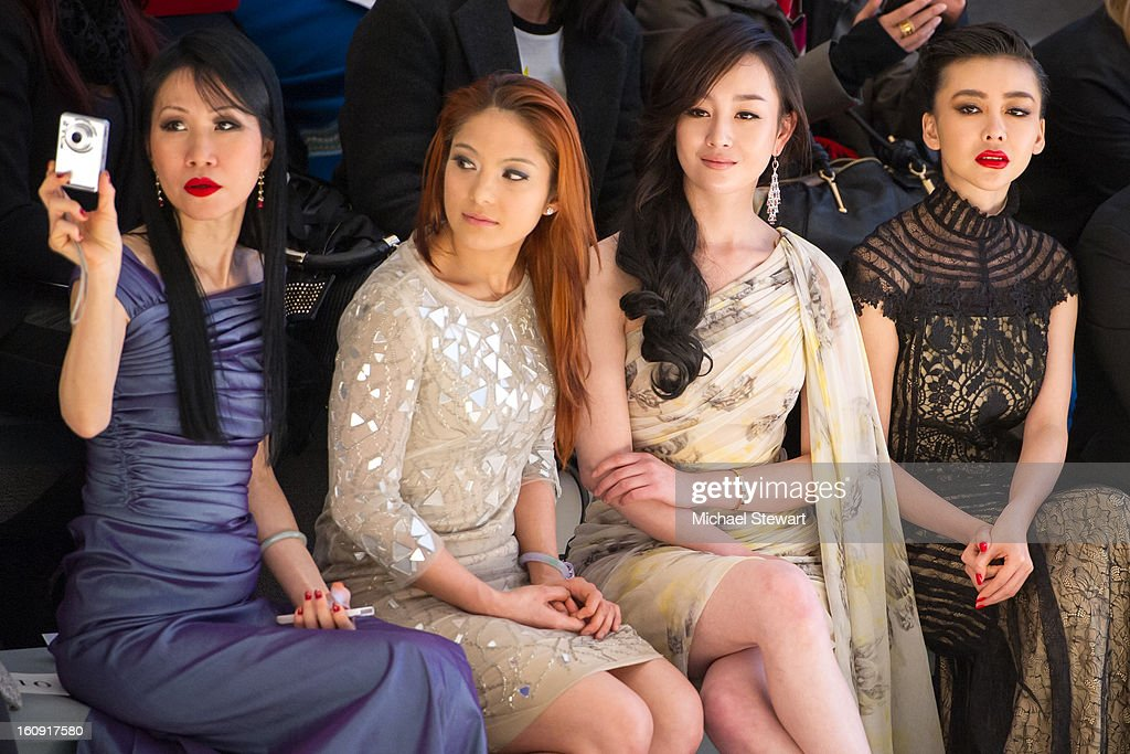 Chiu-ti Jansen, a guest, actress Zhang Meng and actress Gong Xiliang attend Tadashi Shoji during Fall 2013 Mercedes-Benz Fashion Week at The Stage at Lincoln Center on February 7, 2013 in New York City.