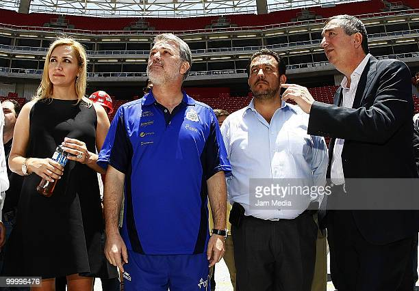 Chivas' Director Angelica Fuentes Governor of Jalisco Emilio Gonzalez and Chivas' president Jorge Vergara during a visit to the construction of new...
