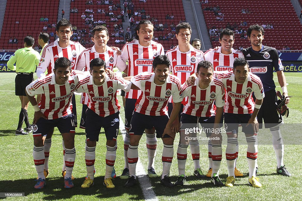 Chivas Guadalajara players pose during a match of the Clausura Liga MX Round 5 in Omnilife Stadium on February 3, 2013 in Guadalajara, Mexico.
