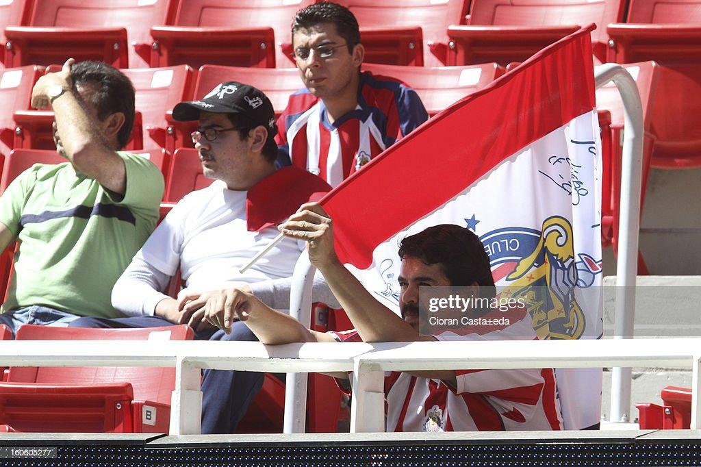 Chivas Guadalajara supporters watch the match of the Clausura Liga MX Round 5 in Omnilife Stadium on February 3, 2013 in Guadalajara, Mexico.