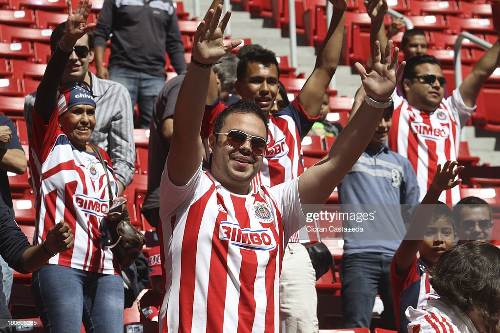 Chivas Guadalajara supporters watch the match of the Clausura Liga MX Round 5 in Omnilife Stadium on February 3, 2013 in Guadalajara, Mexico.