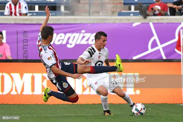 Chivas U20s defender Andres Ramirez attempts to steal the ball from MLS Homegrown and Real Salt Lake midfielder Brooks Lennon in the first half...