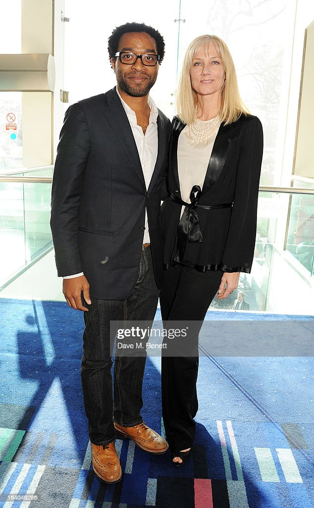 Chiwetal Ejiofar (L) and Joely Richardson attend the First Light Awards at Odeon Leicester Square on March 19, 2013 in London, England.
