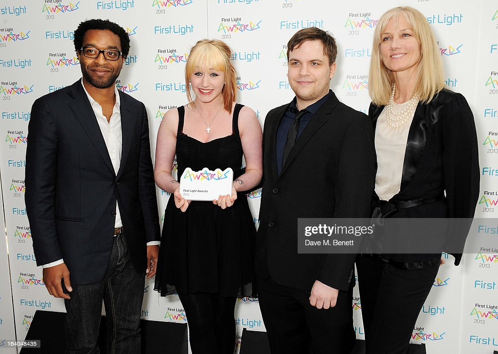 Chiwetal Ejiofar, winners of Best Drama Charlotte Makin and Tony Shotton and Joely Richardson attend the First Light Awards at Odeon Leicester Square on March 19, 2013 in London, England.