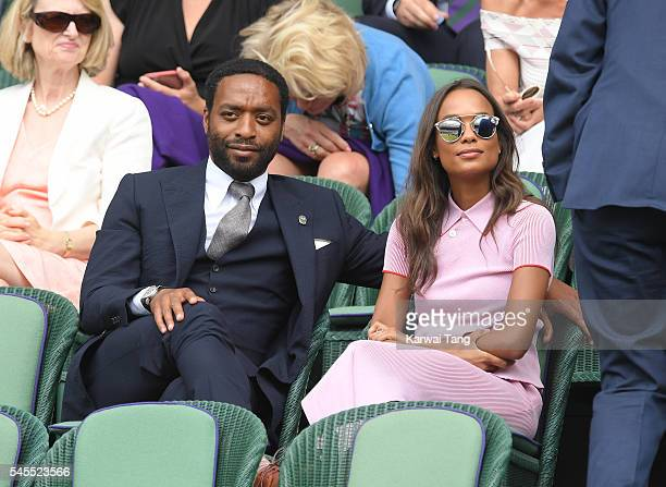 Chiwetel Ejiofor and Frances Aaternir attend day eleven of the Wimbledon Tennis Championships at Wimbledon on July 08 2016 in London England