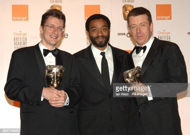 Chiwetel Ejiofor with Jermey Brock and Peter Morgan with their Adapted Screenplay award for The Last King of Scotland award received at the 2007...