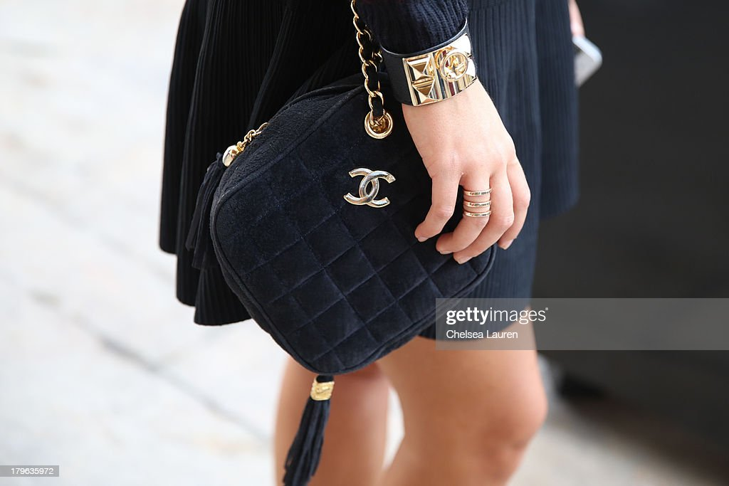 Chloe Aviza (purse detail) is seen on the Streets of Manhattan on September 5, 2013 in New York City.