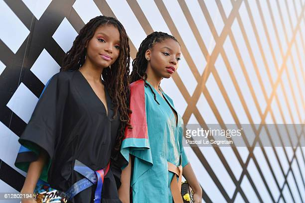 Chloe Bailey and Halle Bailey aka Chloe Halle attend the Louis Vuitton show as part of the Paris Fashion Week Womenswear Spring/Summer 2017 on...