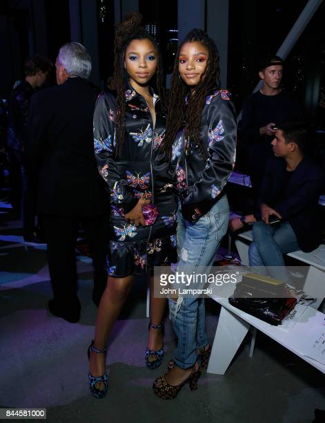 Chloe Bailey and Halle Bailey attend Jeremy Scott collection during the September 2017 New York Fashion Week The Shows on September 8 2017 in New...