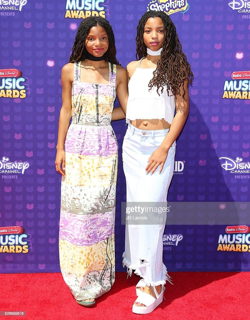 Chloe Bailey and Halle Bailey attend the 2016 Radio Disney Music Awards on April 30, 2016 in Los Angeles, California.